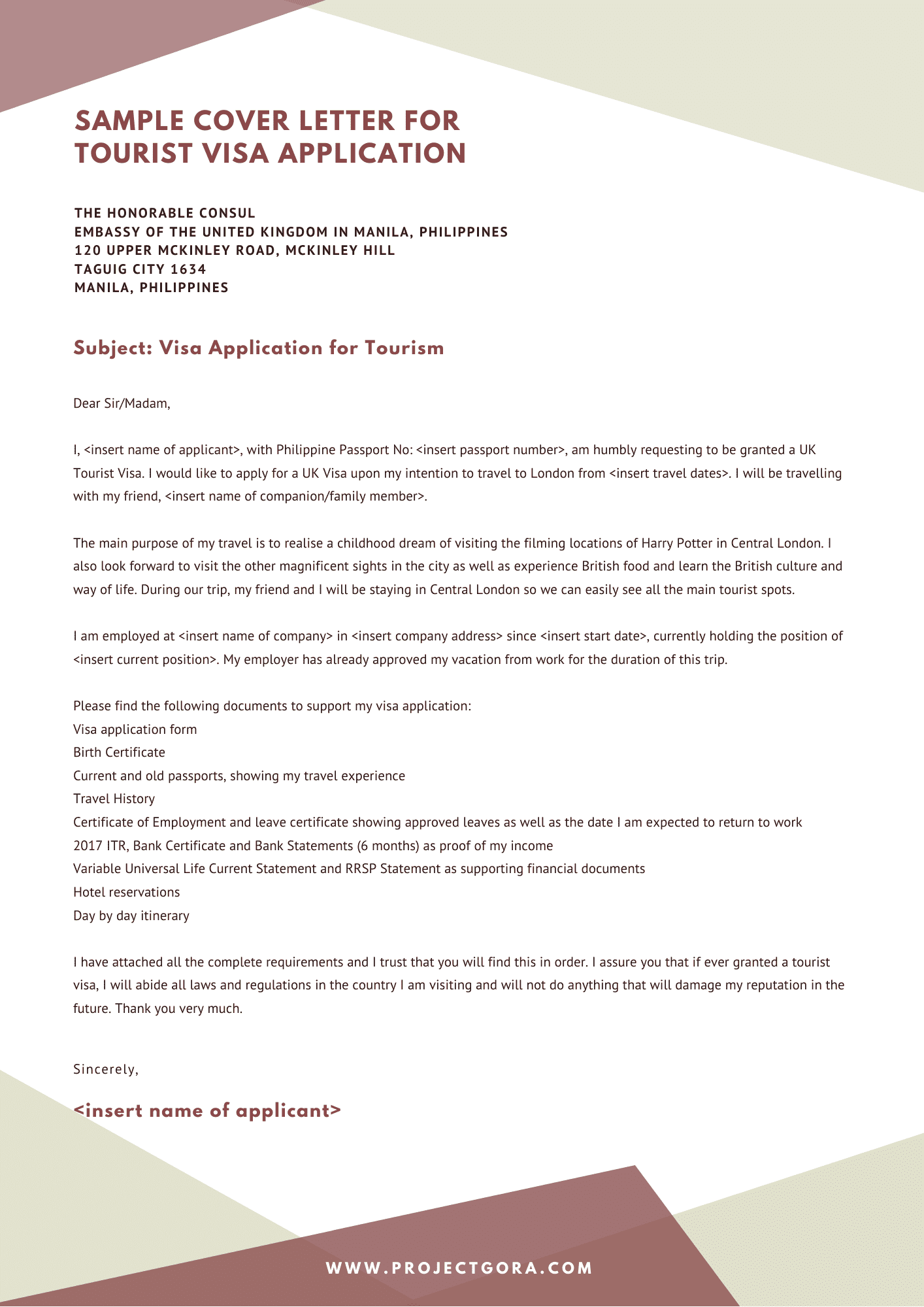 Sample Cover Letter For Uk Tourist Visa Application In The Philippines Project Gora